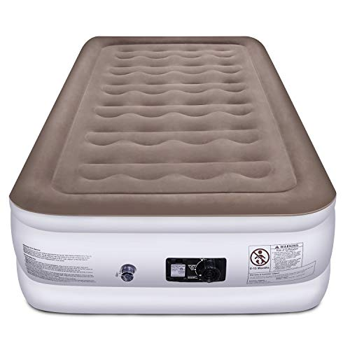 Etekcity Air Mattress Upgraded Twin Size Inflatable Airbed Blow Up Air Bed Raised Mattress with Built-in Pump for Camping, Guest, Hiking, Height 18