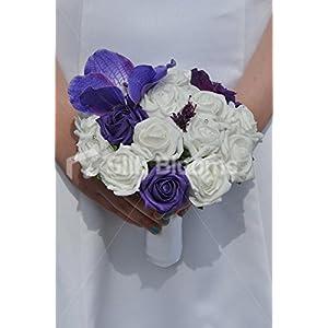 Purple Vanda Orchid and Rose Bridesmaid Bouquet w/ Allium and Hydrangea 9