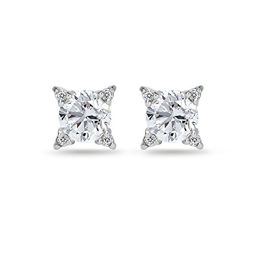 Sterling Silver Created White Sapphire Studded Solitaire Stud Earrings For Women ()
