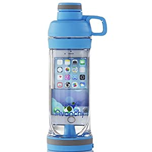 Avanchy Sports, Gym, Crossfit, Yoga, Water Bottle. BPA Free Tritan, iPhone 7 and iPhone 6 or Multi-Use Water Proof Chamber, Flip Top Lid, Headphones Jack, Blue