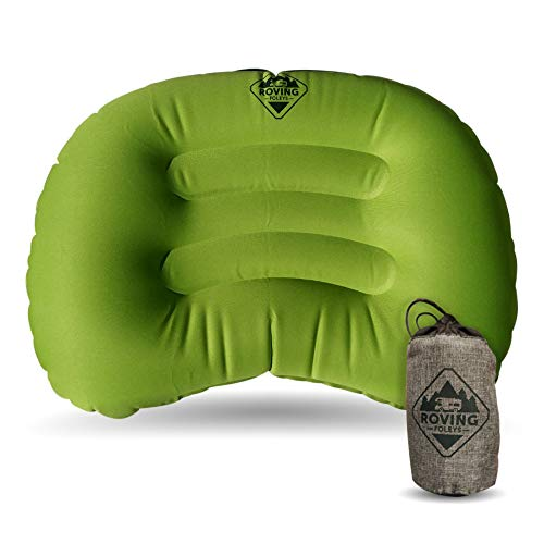 Travel Camping Pillow. Ultralight and Ultra Compact Inflatable Cushion Provides You with A Great Night's Sleep When On The Road Or Trails. Carrying Case Included (Inflatable Throw Pillow)