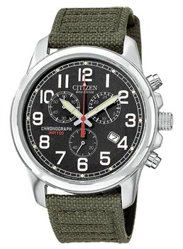 Mens Watch Citizen AT0200-05E Stainless Steel Eco-Drive Chronograph Canvas Stra
