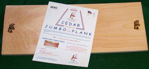 Just Smoked Salmon Western Red Cedar Jumbo Plank 24 x 9 x 5/8 inch thick (4 pack)