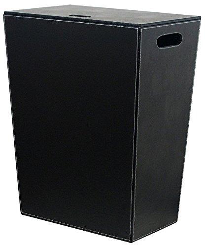 WS BathコレクションECOPELLEコレクションレザーランドリーバスケット/ Hamper withカバー、23.6インチ、ブラック B009PSPP2G