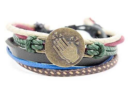 Clapping Hands Sign Emoji Bracelet Orti Jewelry Original Emoji Fashion Bracelet – Handmade Leather, Metal & Rope Bangle, Stylish Design, Adjustable Unisex Jewelry, Adorable Romantic Gift (Personalized Emoji)