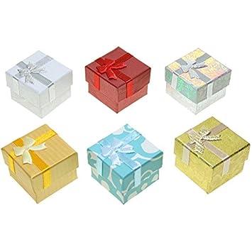 CHRISTIAN GAR Pack de 48 Cajas de cartón para joyería Estampadas Surtidas en 6 Colores - Anillo/Pendientes (4 x 4 x 3 cm)