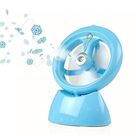 REXSONN USB Misting Fan - Ultrasonic Desktop Cooling Humidifier with Built-in Battery and Water Tank for Beauty, Home, Office and - Blue Little Fan
