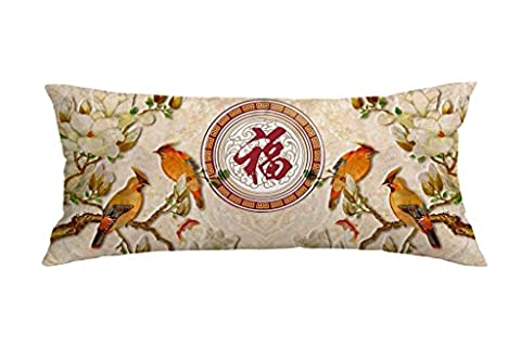 Chinese Wind Flower And Bird Series Polyester Decorative Throw Pillow Case Cushion Cover Body Pillow covers 16 x 40 (Bench Cushion Indoor 40 Inch)
