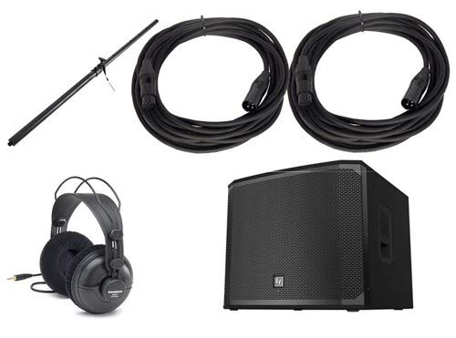 (Electro-Voice EKX218SP Subwoofer Package with Headphones, Subwoofer Pole, and 2 Microphone Cables)