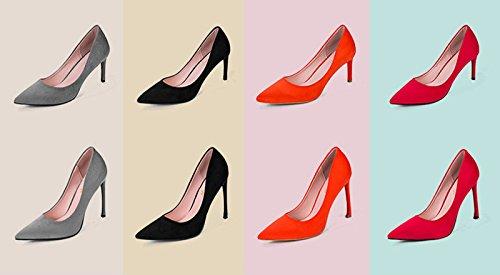 Lizform Mujeres Punta Estrecha Slip On Pump Heels Fiesta Vestido De Fiesta Zapatos Rojo