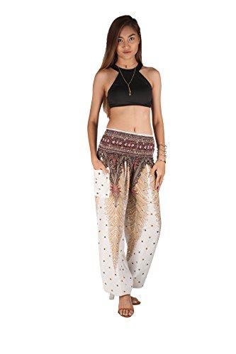 JOOP JOOP Bohemian Tapered Elephant Harem Loose Yoga Pants, White, S/M by JOOP JOOP (Image #3)
