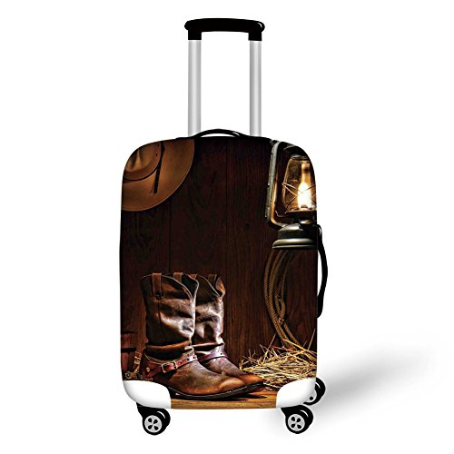 Travel Luggage Cover Suitcase Protector,Western Decor,American Rodeo Cowboy Traditional Leather Working Roper Boots Decorative,,for Travel ()