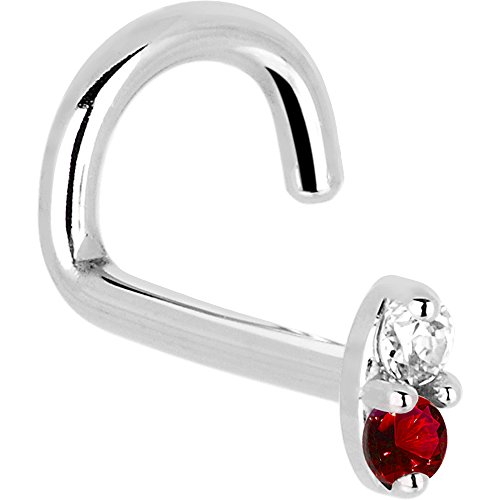 Genuine Ruby Nose Ring - Body Candy Solid 14k White Gold 1.5mm Genuine Ruby Diamond Marquise Left Nose Stud Screw 18 Gauge 1/4
