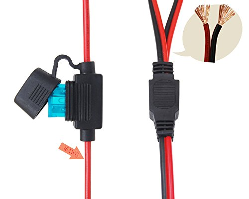 CUZEC 15FT 16AWG 15A Battery Alligator Clip to 2 SAE Connector/12V 2 SAE Quick Release Adapter to Alligator Clips Quick Disconnect Cable (CU10362B) by CUZEC (Image #3)
