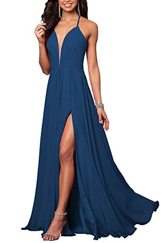 YMSHA Women's Halter Spaghetti Straps Back Evening Prom Dresses with Slit Long Chiffon Backless Party Gowns Peacock 26W