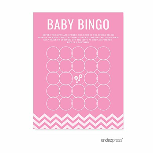Andaz Press Pink Chevron Girl Baby Shower Collection, Games, Activities, Decorations, Baby Bingo Game Cards, 20-pack by Andaz Press