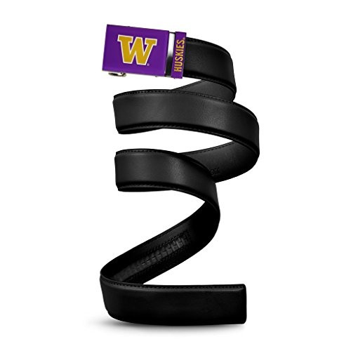 NCAA Washington Huskies Mission Belt, Black Leather, Large (up to 38)