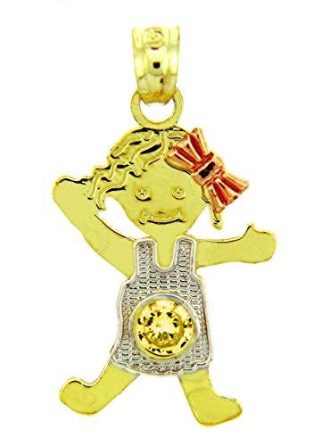 Petits Merveilles D'amour - 14 ct 585/1000 - Trois ton or Fille Novembre Pierre de Naissance Charm w / de Oxyde de Zirconium CitrinPendentif