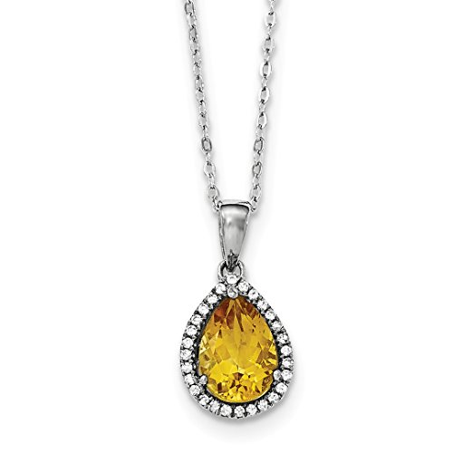 ICE CARATS 925 Sterling Silver Yellow Citrine Cubic Zirconia Cz Chain Necklace Pendant Charm Birthstone November Gemstone Set S Pear Fine Jewelry Ideal Gifts For Women Gift Set From Heart (Citrine Pendant Set)