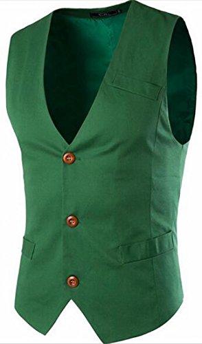 BYBU-Men Slim Business Casual Premium Vest Green M ()