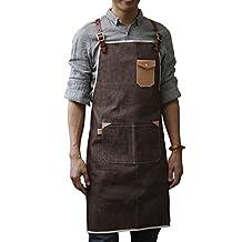 M L Size Leather Strap Custom Denim Apron for Barbershop Hairdresser Kitchen Men Personalized Print LOGO barbershop coffee Apron (M, Handsome & Flash) by Unknown