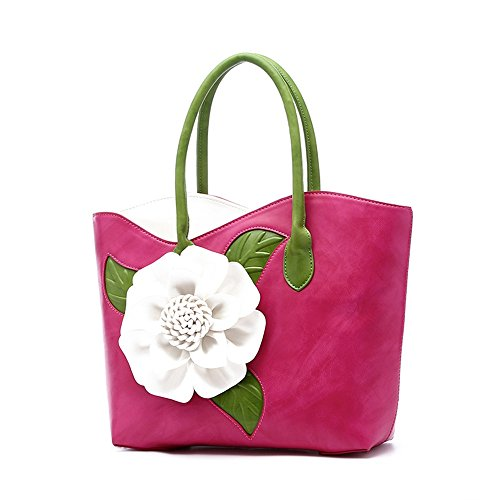Women Handbag 3D Flower Seris PU Leather Purse Tote Bag By Vanillachocolate (Large, Rose Red) ()