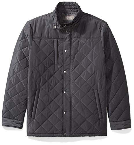 - The Plus Project Mens Diamond Coat, Men's Water Resistant Stand-up Collar Plus Size Down Short Winter Coat Quilted Barn Jacket with Pockets 2X-Large Grey