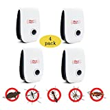 Ultrasonic Pest Repeller Plug in Pest Control - Ant Repellent for Mosquito,Rat,Flea,Fly,Roach,Spider-No More Trap & Spray-4 PACK