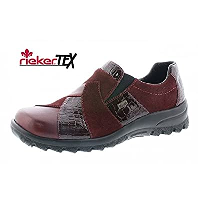 85c556983c02 Rieker Women s Tex Red Multi Design Slip On Comfort Flat UK 8 - EU 41 -