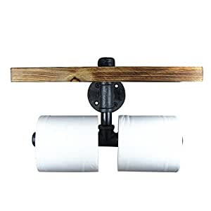 IMQOQ Vintage Industrial Style Metal Pipe Wood Shelf Double Toilet Paper Holder Roller