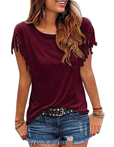 Summer Tassel - Kimiee Women's Casual Short Sleeve T Shirt Tassels Sleeves Blouse (Wine Red, XXL)