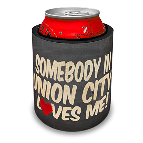 NEONBLOND Somebody in Union City Loves me, New Jersey Slap Can Cooler Insulator Sleeve -