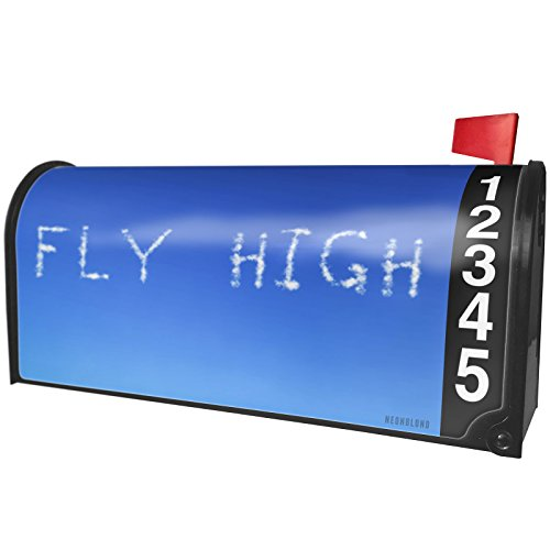 NEONBLOND Fly High Clouds Fresh Air Magnetic Mailbox Cover Custom Numbers by NEONBLOND