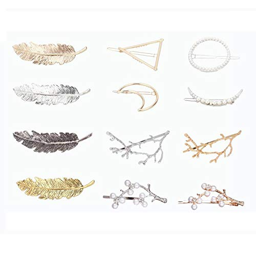 (12pcs Hair Clips Hollow Geometric Alloy Hairpin Clamps, Leaf, Circle, Triangle and Moon Multiple Style Hair Accessories)