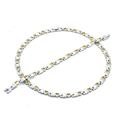 NEW TWO TONE (GOLD & SILVER) DOUBLE HEART NECKLACE & BRACELET SET XOXO STAMPATO 18/20 INCHES (Necklace 18'' & Bracelet 7.5'')