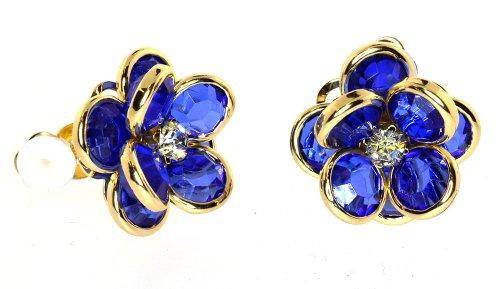 "Gold Tone Sweet Flower Acrylic Rhinestone ""CLIP-ON"" Earrings"