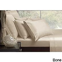 Malibu Satin 75D Polyester Sheet Set Bone (Queen)