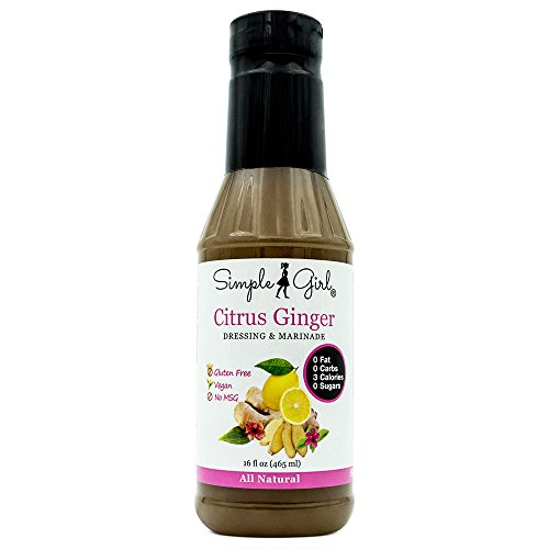 Simple Girl Sugar Free Citrus Ginger Salad Dressing 16oz - Diabetic/Vegan Friendly - Carb/Gluten/Fat Free - Compatible with Most Sugar Free Diet Plans
