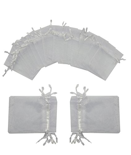 Ankirol 100pcs Wedding Favors Sheer Organza Favor Bags 2x3'' Gift Bags Samples Display Drawstring Pouches (white) (Favor Bags Sheer Organza)