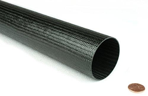 Braided Carbon Fiber Round Tubing - 2'' Inside Diameter x 48'' by DragonPlate