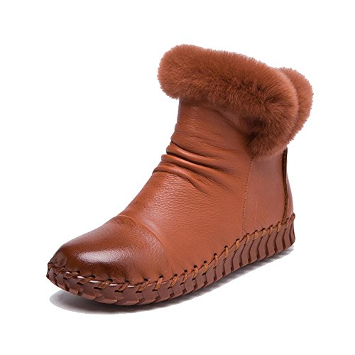 scarpe brown a fatto piatto morbido stivali mano suole incinta pigra thicker caviglia femmina felpa pelle casuale cotone tacco caldo UT5qwxwn1