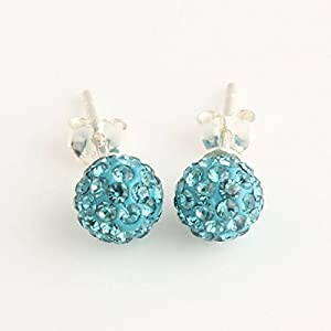CHANGEABLE 6mm Crystal Elements Ball Sterling 925 Silver Shamballa Stud Earrings [ Indicolite Green ]