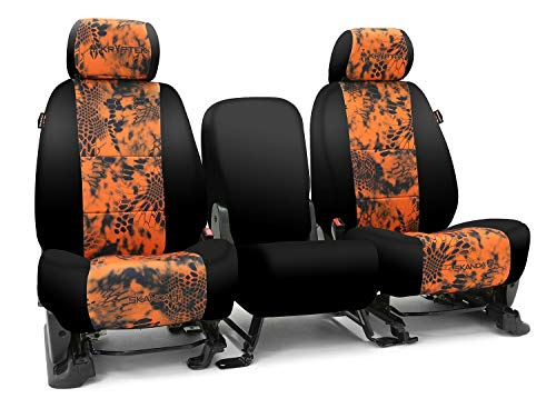 Third Row SEAT: ShearComfort Custom Kryptek Neo-Supreme Seat Covers for Chevy Tahoe (2007-2014) in Black w/Kryptek Neo-Supreme Inferno for 50/50 Split 3 Person Folding Bench w/Adjustable Headrests