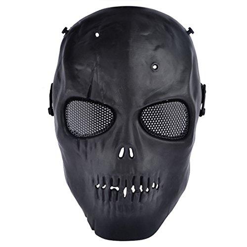 [Mask, PeleusTech CS Skull Skeleton Full Face Mask Tactical Paintball Airsoft Protect] (Leg Gun Holster Costumes)