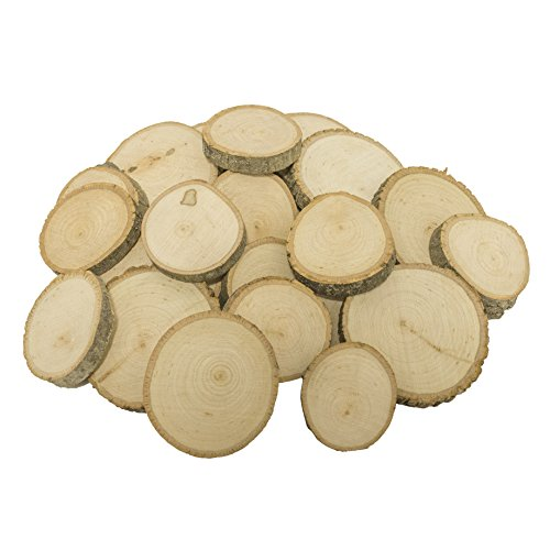Walnut Hollow Piece Bulk Extra Small Basswood Coasters, Ornaments, Weddings and Craft Projects Baswood Round Assortment 25 Pack