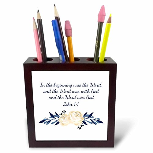 3dRose TNMGraphics Scripture - Scripture John 1 In the Beginning Was the Word - 5 inch tile pen holder (ph_280640_1) by 3dRose