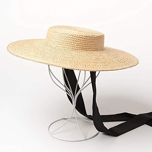 Amazon.com   ALWLj Ladies Wide Brim Hats Raffia Straw Boater Hats Women  Summer Beach Sun Hat with Ribbon Tie Vintage Floppy Hats   Sports   Outdoors 2a988e220e0