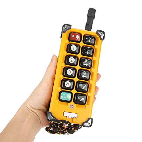 Crane Chain Hoist Push Button Switch 1 Transmitters + 1 Receiver Hoist Crane Wireless Remote Controller 12 Buttons by Wal front (Image #6)