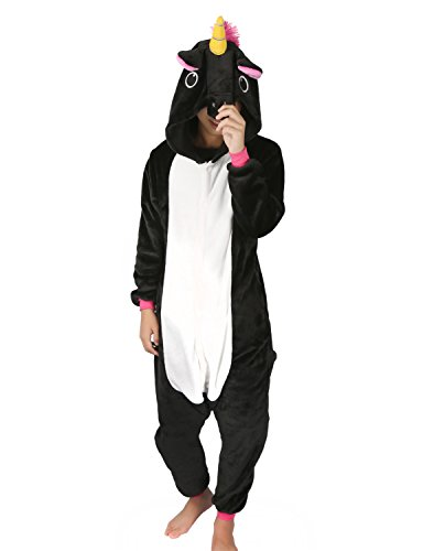 Animal Pajamas for Women Men Adult Onesie Unisex Sleepwear Halloween Cosplay Costume (M, Black Unicorn)
