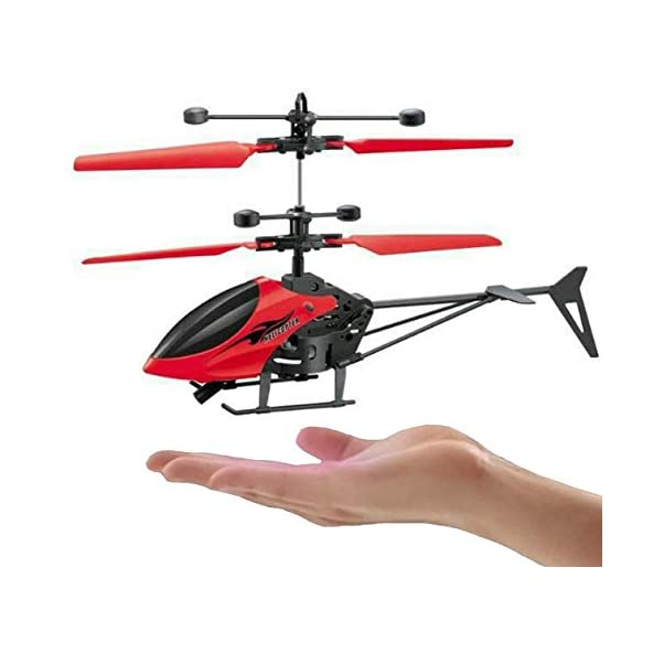 ANG Plastic Hand Induction Control Flying Helicopter Toy with Infrared Sensor, USB Charger and Flashing Light for Kids (Multicolour)